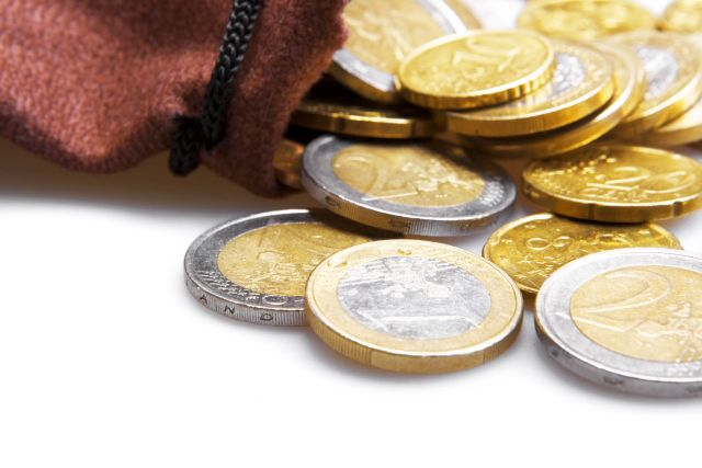 Euro coins isolated on white